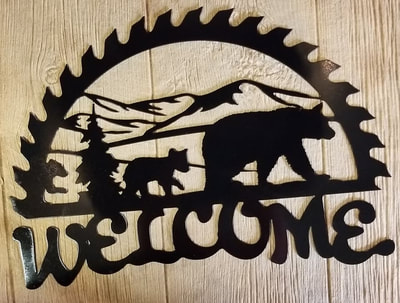 Metal Art Welcome Bear Sign