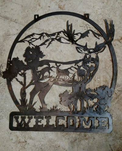 Welcome Deer Sign Metal Art